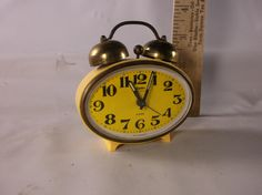 Vintage Linden Black Forest Bright Yellow Alarm Clock West Germany Small Travel Wind Up .epsteam by retroricks on Etsy