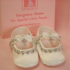 Baby shoes ivory or white christening and baptism crystal cross Alicia. $45.00, via Etsy.