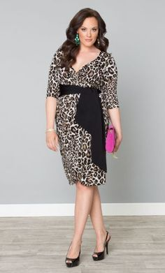 Harlow Faux Wrap Plus Size Animal Print Dress. It also comes in black and purple.