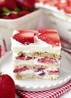 Gluten-Free No-Bake Strawberry Shortcake Icebox Cake is a perfectly sweet, gluten-free summer dessert recipe. Just 5 ingredients and make-ahead, too!   iowagirleats.com