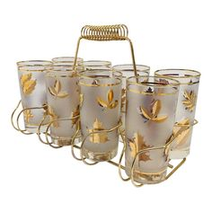 Hollywood Regency Fred Press Black and Gold Highball Glasses in Brass Cart - 9 Pieces Vintage Dishware, Vintage Dishes, Vintage Kitchen, Vintage Items, Antique Dishes, Vintage Pyrex, Crystal Glassware, Antique Glass, Leaf Design