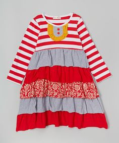 Loving this Red & Gray Sweet Cinnamon Ruffle Dress - Infant, Toddler & Girls on #zulily! #zulilyfinds