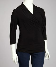 Take a look at this Black Drape Wrap Top - Plus by Avital: Plus-Size on @zulily today! 07/28/13