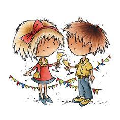 Tampon dessin couple nouvelle ans Fête