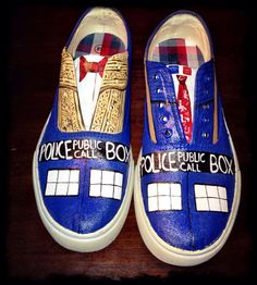 Hand painted Dr Who tennis shoes by ABrushWithWhimsy on Etsy, $50.00