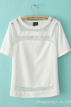 White Chiffon Short Sleeves T-shirt
