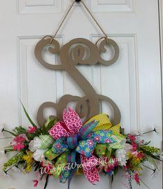 Monogram Door Hanging with Summer Flowers, Summer Door Hanging, Monogram Front Door Hanging, Monogram Door Wreath, Front Door Wreath by WruffleWreathsbyLana on Etsy