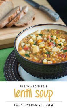 Lentil Vegetable Soup.  http://www.forksoverknives.com/lentil-vegetable-soup/