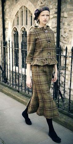 Vintage midi skirt suit plaid