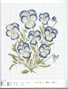 Cross Stitch Violets