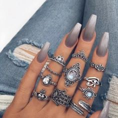 Silken Grey Ombré - These NYE Nail Ideas Will Have You Shining Like the Crazy Diamond You Are - Photos