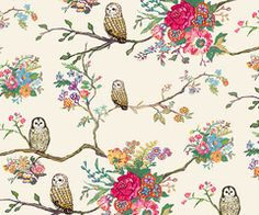 owl & flower wallpaper pattern