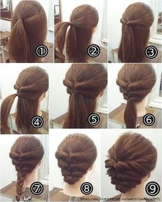 cool braids that are actually easy - Hair - Hair Designs Short Hair Styles Easy, Medium Hair Styles, Curly Hair Styles, Easy Updos For Medium Hair, Thick Hair Updo, Updos For Medium Length Hair Tutorial, Braids Long Hair, Buns For Long Hair, Hairstyles For Short Hair Easy