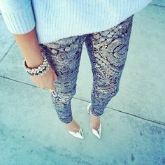 """""""Silver heels + Sequin @7FAM floral jeans #fromwhereistand #love #armparty"""""""