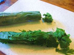 "Herbal ""Cigars"". This is a great way to store lovage, sage, Italian parsley, and other large, flat-leaved herbs. To use, simply cut off a portion of the cigar, and return the rest to the freezer-bag and seal it tightly."