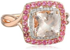 14k Pink Gold Morganite with Pink Tourmaline and Diamond (1/10cttw, H-I Color, I2-I3 Clarity) Ring, Size 7