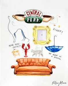 Friends TV Show Watercolor Illustration by RachaelMichelleArt