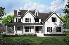 4 Bed Country House Plan with L-Shaped Porch - 500008VV | Architectural Designs - House Plans