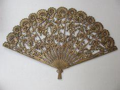 Vintage Burwood Wall Hanging / Sensu / Hand Fan / Gold Ornate. $45.00, via Etsy.