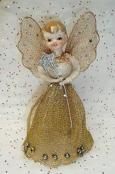 50's-60's Angel Christmas Tree Topper. Wire Mesh, Mercury Glass Beads,Stars. Gorgeous!