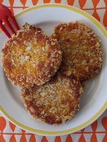 {Sweet Potato Cakes}... Poke a few holes in 3 sweet potatoes... Bake 400/1 hour... Remove and discard skins... Mash potato in bowl and let cool... Mix in 1 egg, 1/2 t cinnamon, 1 T brown sugar, 1/2 t salt, and 1/2 cup panko... Place 1.5 c panko in separate bowl... For each cake, coat with panko and shape into patty... Heat veggie oil in skillet and pan fry each cake, about 4 mins on each side