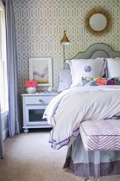 One Room Challenge: Week Six - The Reveal! Lavender and blue bedroom. Teen girl decorating.