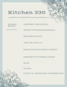 Host your after wedding brunch at Kitchen 330 in Stone Harbor NJ. Business Events, Corporate Events, North Wildwood, Bacon Sausage, Huevos Rancheros, French Toast Bake, Brunch Menu, Brunch Wedding, Mini Muffins