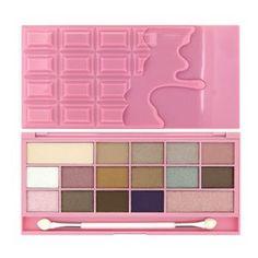MAKEUP REVOLUTION Pink Fizz - urocza paleta 16 cieni zamknięta w oryginalne opakowanie w kształcie czekolady. Cienie są aksamitne, zarówno matowe jak i połyskujące.
