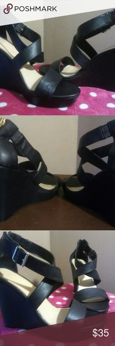 Jessica Simpson Wedges Black Strapped!! Worn Once Excellent Condition! Jessica Simpson Shoes Wedges