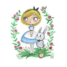 Ilustración de personajes de Alicia en el país de las maravillas en soporte papel con la técnica acuarela. Año 2014