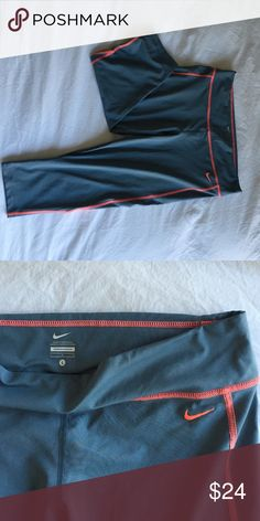 Nike Gray and Coral Capris Like new condition! Worn once. Tight fit and super comfortable! Nike Pants Leggings