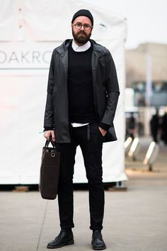 NYC Street Style, Classic Black. Mens Fall Winter Fashion.