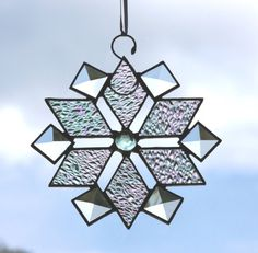 Stained Glass Iridescent Beveled Clear Textured Snowflake Suncatcher