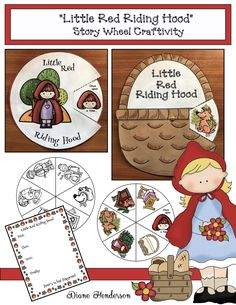 "Fairy Tale Activities: ""Little Red Riding Hood"" story wheels. Quick, easy & fun craft that helps sequence & retell the fairy tale."