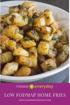 Low FODMAP Home Fries Thank goodness white potatoes have no detectable FODMAPs in their appropriate serving sizes! Fodmap Recipes, Diet Recipes, Healthy Recipes, Fodmap Foods, Recipes Dinner, Healthy Meals For Kids, Healthy Eating, Healthy Cooking, Fodmap Breakfast