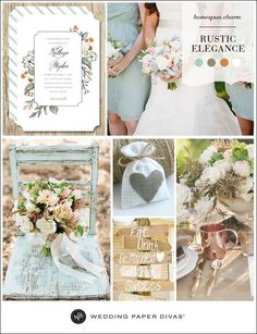 Put a fresh spin on your rustic wedding with a color palette of muted mint, sage, copper, and white. Homespun details and woodsy touches will add to the simple elegance.: