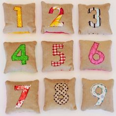 These charming brightly coloured bean bags are a delight to play with. Not only are the colours striking, but the numbers from 1 to 9 teach children basic counting, from an early age. The bags are made from corduroy and cotton fabrics and are filled with barley. Each bag measures 9 x 9 cm.