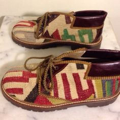 NEW PRICE These are made from authentic Turkish Kilim Rugs. They have been worn once and are in perfect condition!!!  You won't see these around...very original!!  Price is firm.HPWardrobe GoalsChosen by vivaware Shoes