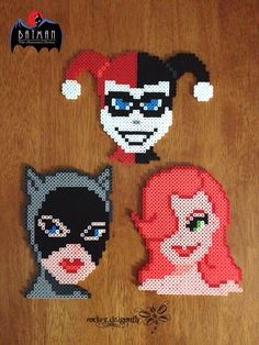 From Batman: The Animated Series, Gotham City Sirens: Catwoman, Poison Ivy and Harley Quinn - Perler Bead Creations by RockerDragonfly