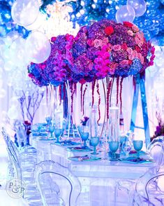 Florals that look like jellyfish! I had a vision & once I found the gold stand it was game on! Photo by Planned &… Jellyfish, Florals, That Look, Party Ideas, Photo And Video, How To Plan, Game, Medusa, Venison