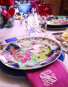 """Mottehedah's """"Tobacco Leaf"""", pink and white monogrammed napkins, colorful stemware - Kimberly Schlegel Whitman"""