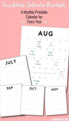free minimal calendar printable for every year calendar printable
