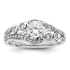 Unique 14K White Diamond Halo Round Antique Vintage  Bezel Design Engagement Ring on Etsy, $699.00