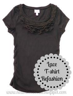 teeshirt redos | Upscale-Redo Fashion / Easy Lace Ruffle T-shirt Refashion - Tutorial
