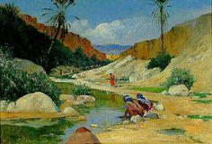 Peinture d'Algérie -Peintre Espagnol, José Alsina(1850 - 1925), huile sur toile, Titre : Les Gorges d'El Kantera près de Biskra.