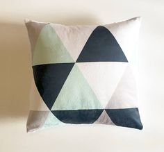 Navy mint grey triangles pillow cover | nursery pillow | navy mint gray nursery | boy nursery | navy blue mint green | gender neutral | triangles pillow | nursery accessories | by Wilder and Bean