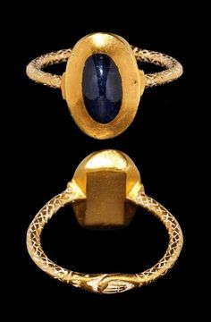 Medieval Gold Ring with Clasped Hands and Sapphire, 14th Century AD