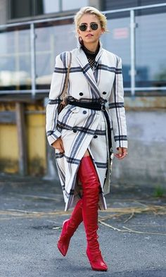 Copenhagen Street Style: plaid coat and red slouchy high boots