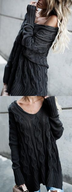Shop for Black V-neck Split Side Long Sleeve Knit Sweater online at $29.99 and discover more Sweaters & Cardigans at mynystyle.com