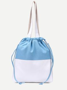 Shop Bule With White Drawstring Tote Bag online. SheIn offers Bule With White…